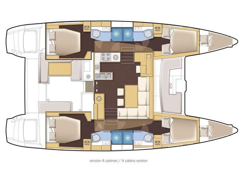 Lagoon 450 Fly (DEUX POINT (with generator and AC, dinghy with OB 15 HP)) Plan image - 2