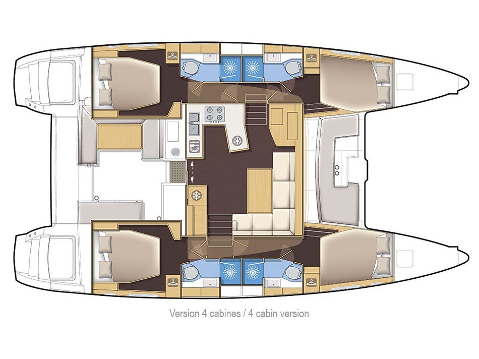 Lagoon 450 F (2016)equipped with generator, A/C (s (PRINCESS IVA) Plan image - 3
