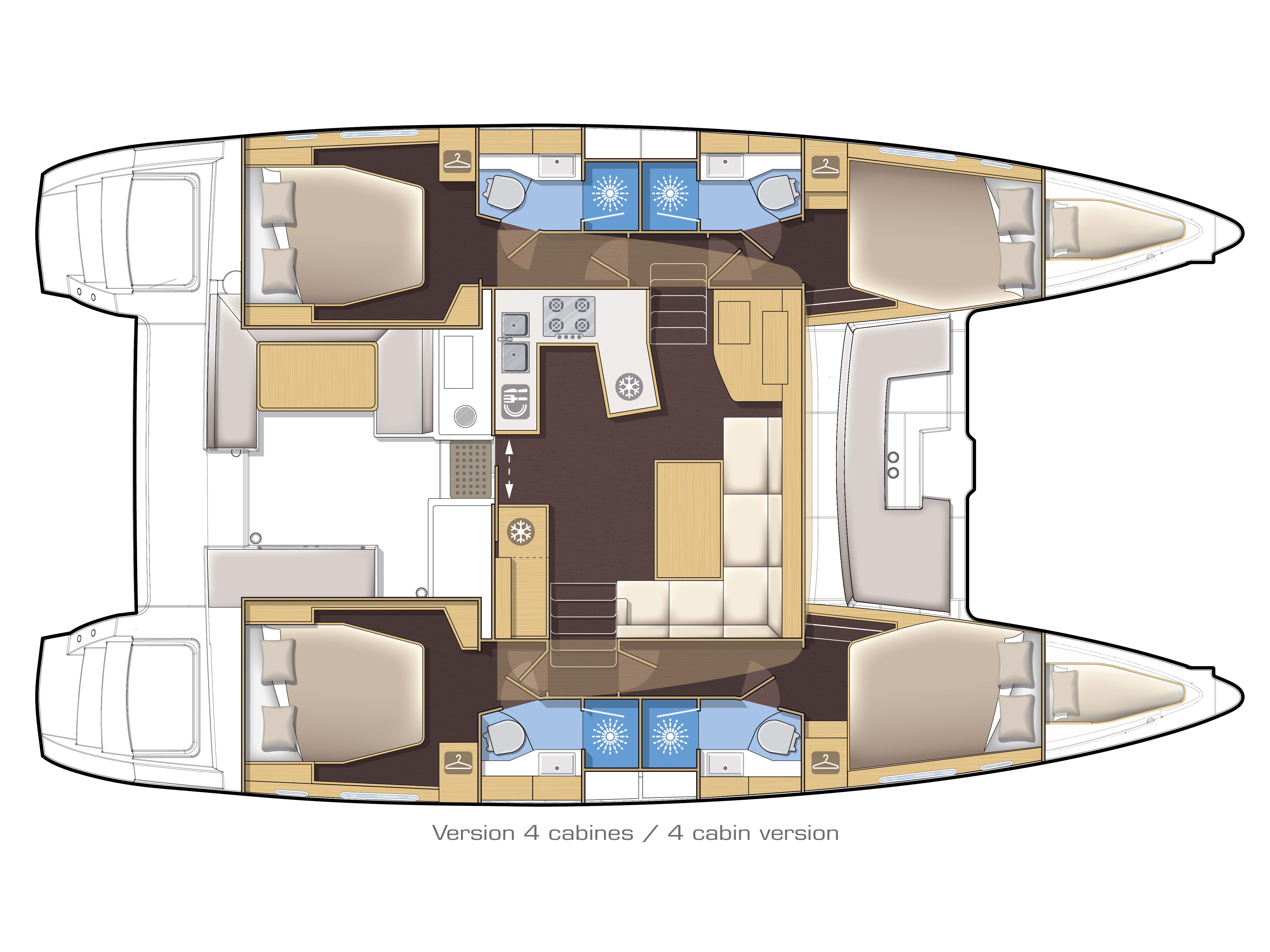 Lagoon 450 Sport LUX equipped with generator, A/C (PRINCESS SOFIA) Plan image - 14