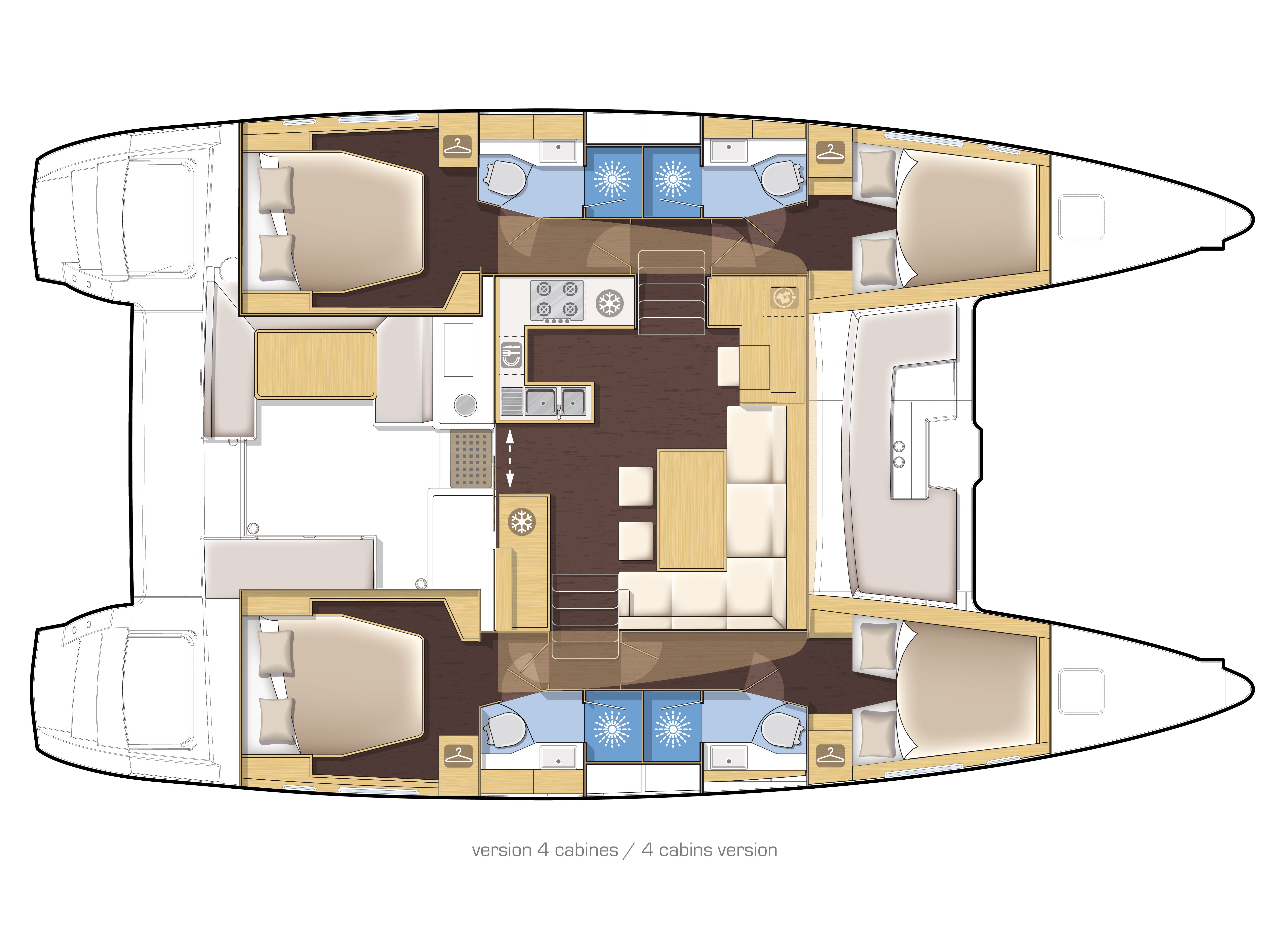 Lagoon 450 F (2019) equipped with generator, A/C ( (WIDE DREAM) Plan image - 5