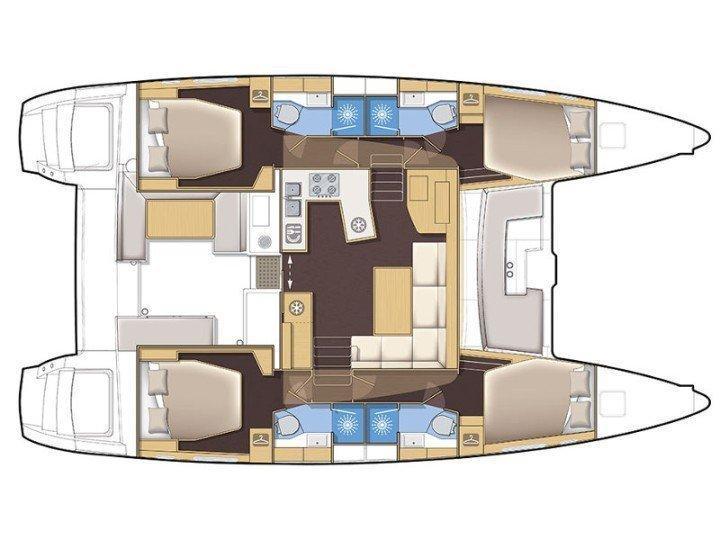 Lagoon 450  Flybridge (HYDRAVIII) Plan image - 1