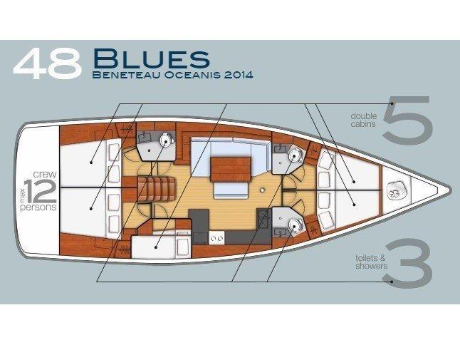 Oceanis 48 (5 cabins) (Blues) Plan image - 5