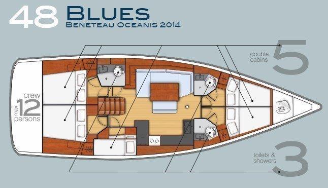 Oceanis 48 (5 cabins) (Blues)  - 7
