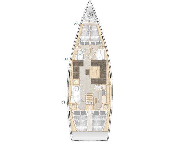 Hanse 458 (4 cab) (Chloe) Plan image - 2
