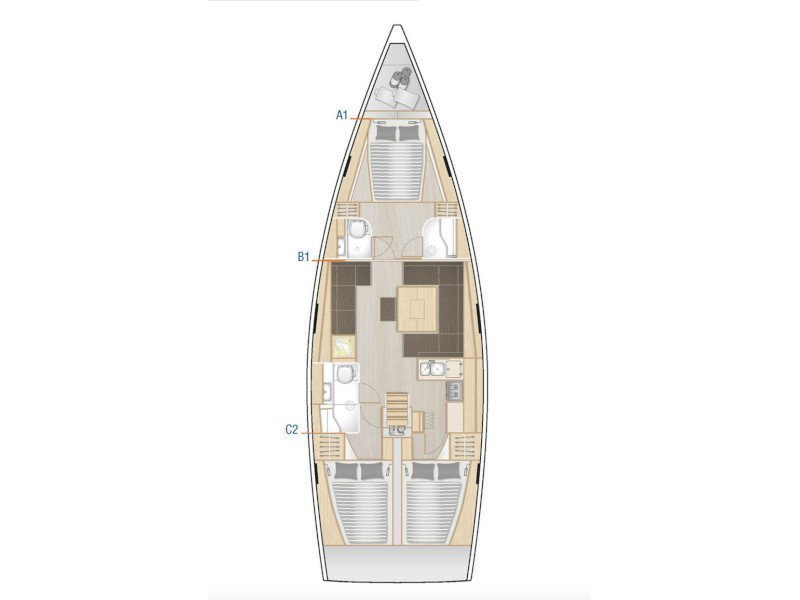 Hanse 458 (3cab) (Terna) Plan image - 1