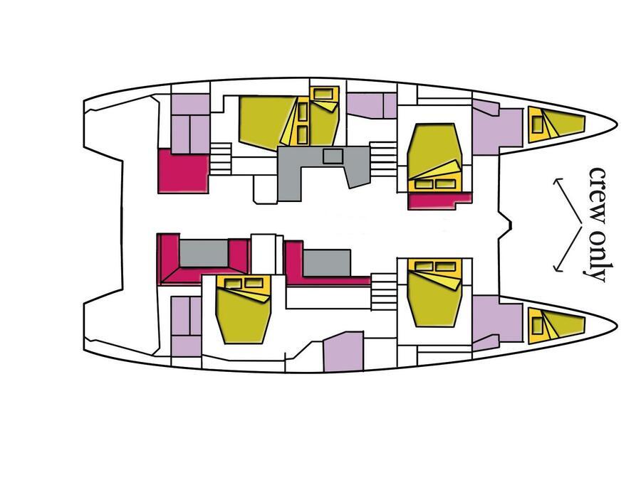 Lagoon 52F (5 cab) (Naka (A/C, WM, Generator, Inverter, Tender Lift)) Plan image - 1