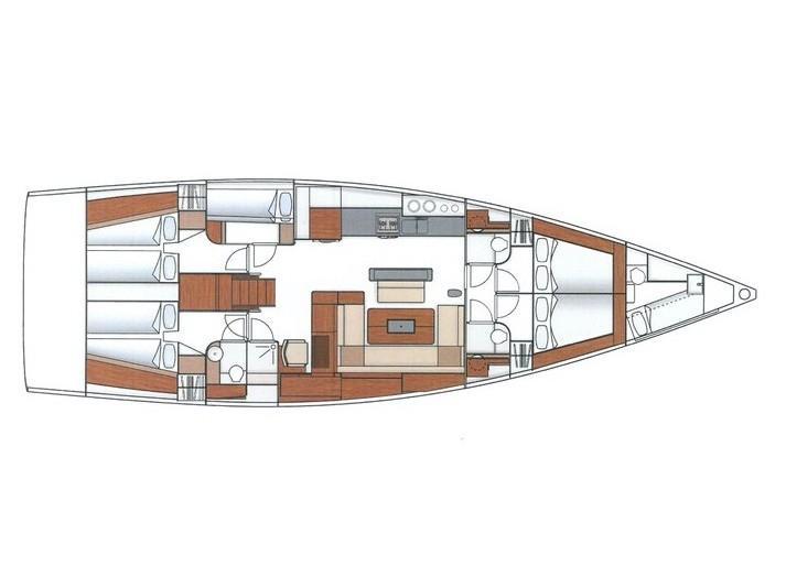 Hanse 575 (Marina Estrella Four (PMI)) Plan image - 4