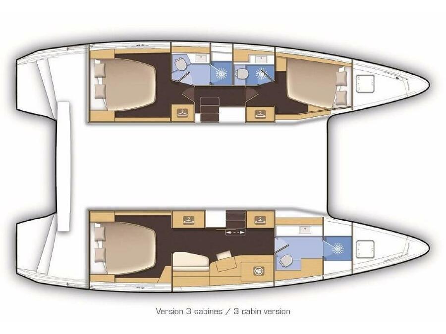 Lagoon 42 Version 3 Cabinas Full Equipe (Side) Plan image - 3