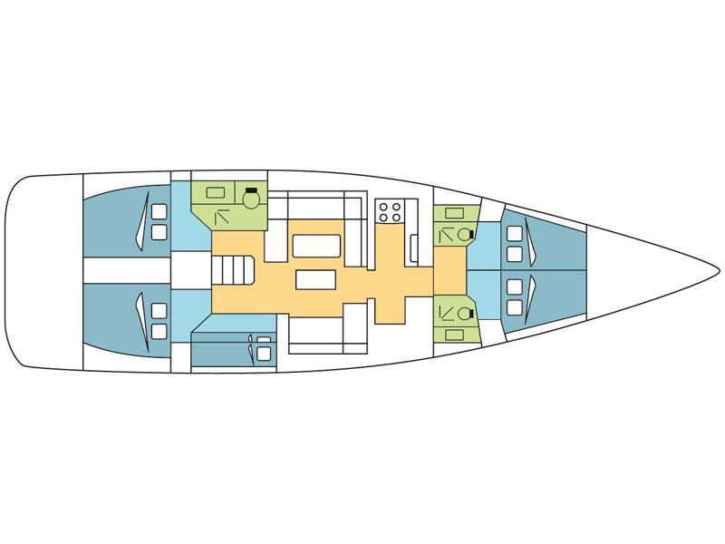 Dufour 520 Grand Large (Fregate) Plan image - 2