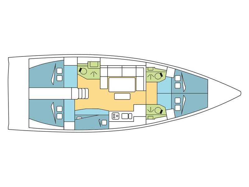 Dufour 460 Grand Large (Dotterel) Plan image - 2