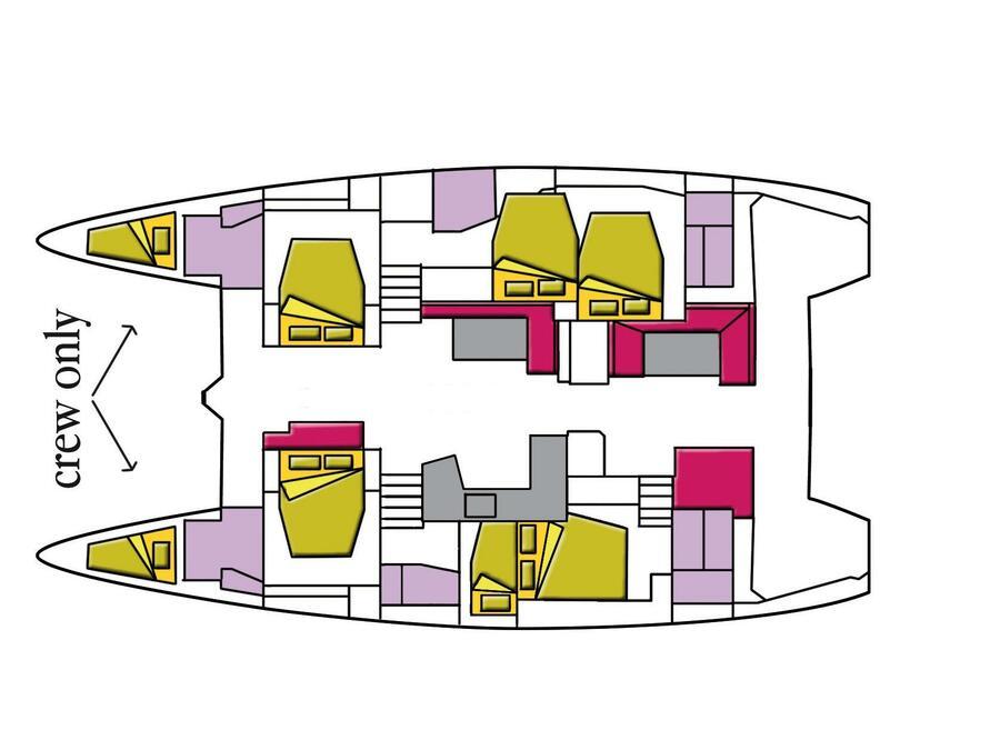 Lagoon 52F - 6 cab (Dugongo II (GND) (A/C, WM, Generator, Inverter, Tender Lift)) Plan image - 4