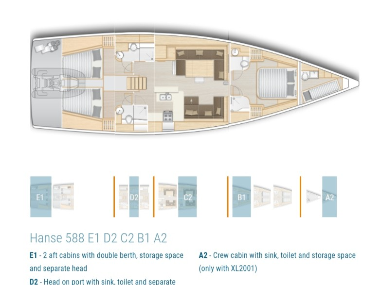 Hanse 588 (AMADEA (ONLY SKIPPERED)) Plan image - 6