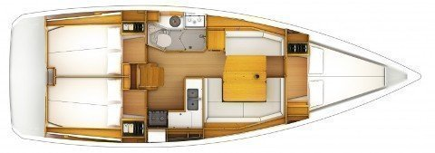 Sun odyssey 379 (Capoeira (GPS in cockpit, bowthruster, solar panels)) Plan image - 2