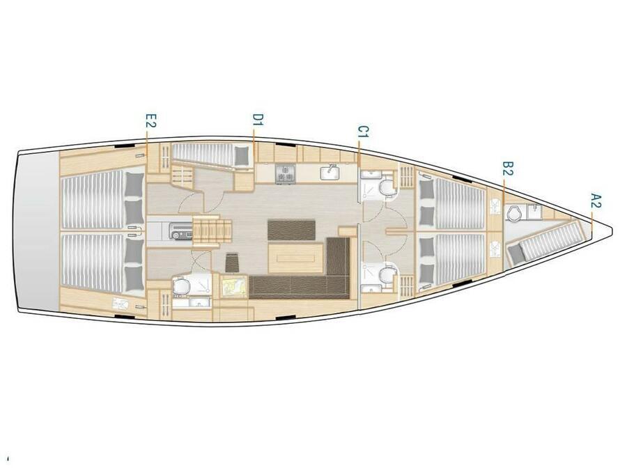 Hanse 508 (APOLLO (A/C, GEN, Watermaker)) Plan image - 2