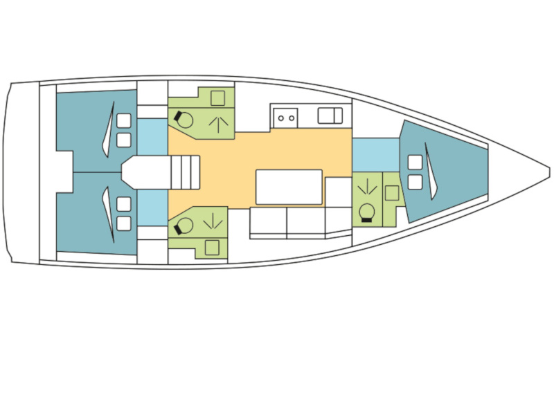Dufour 390 Grand Large  (AVAJAVA) Plan image - 1