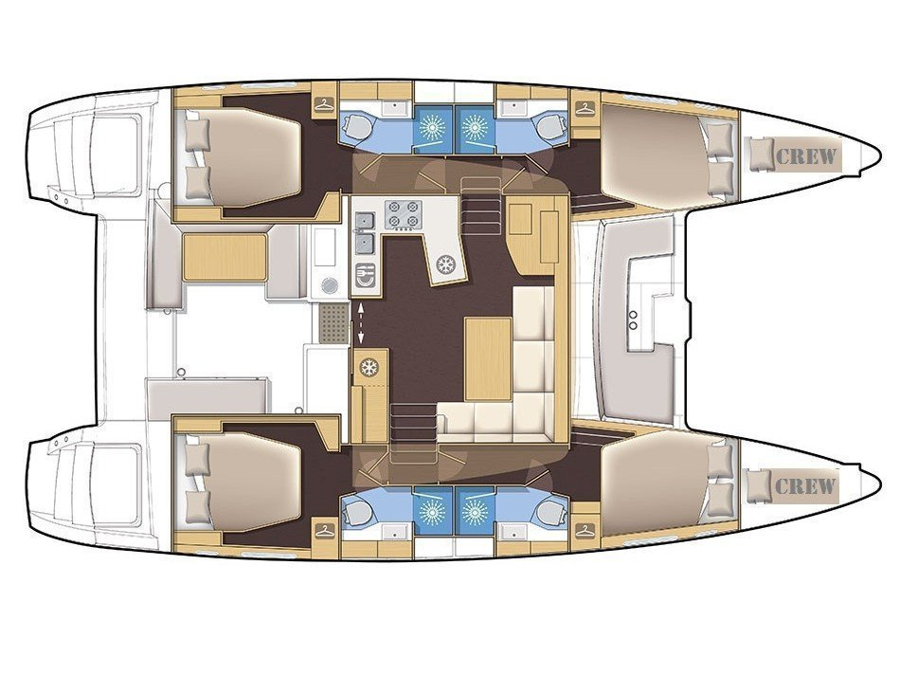 Lagoon 450 F (Sailing Blue 5 - (A/C - Generator)) Plan image - 1
