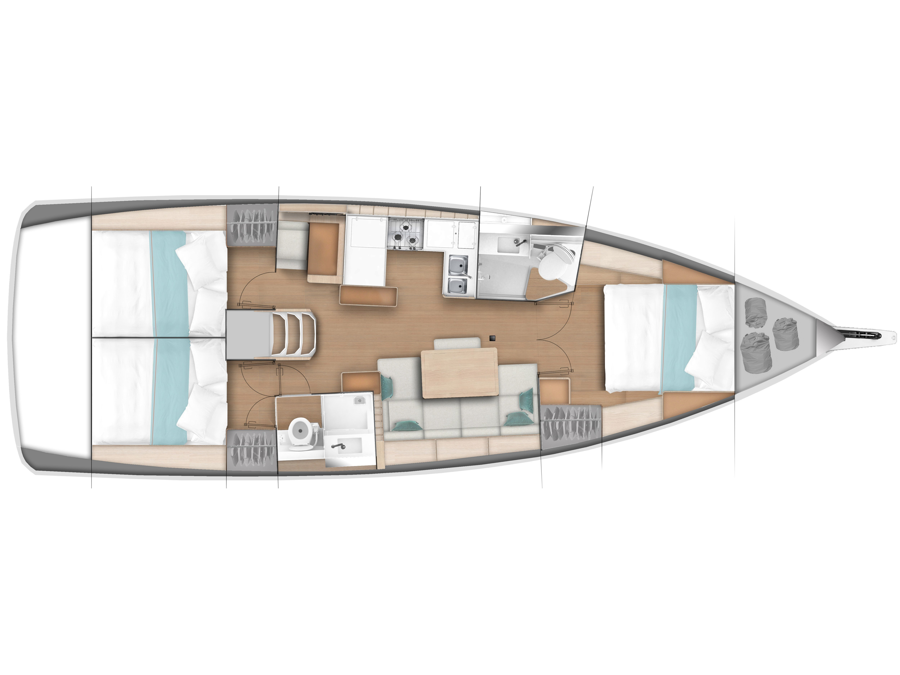 Sun Odyssey 440 - 3 Cabins (White Marlin) Plan image - 8