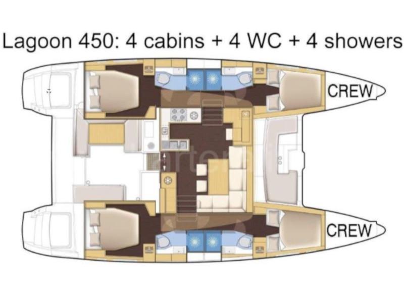 Lagoon 450 (IRIS IV (a/c-gen-watermaker-teak deck)) Plan image - 21