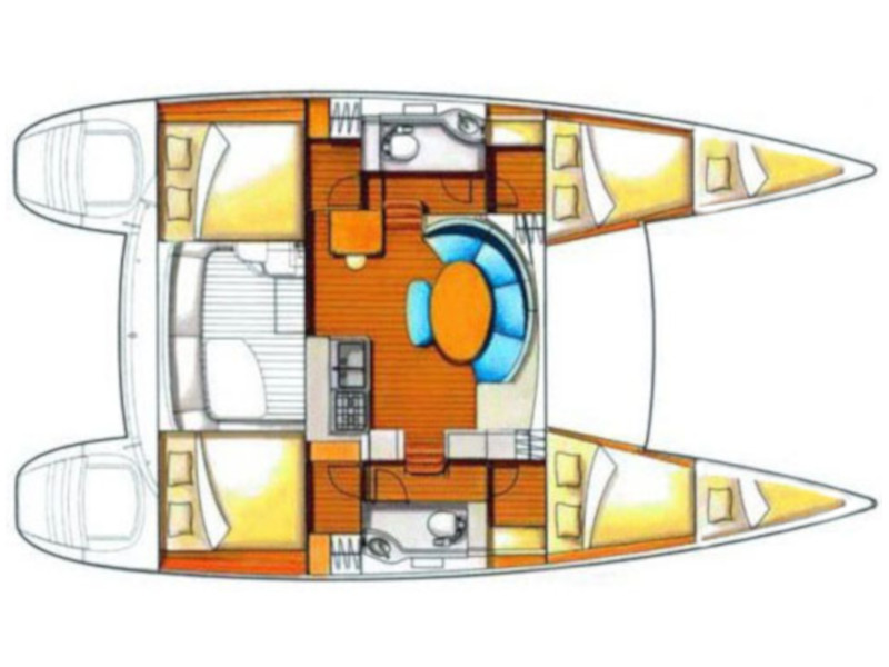 Lagoon 380 (4+2 cab.) (Twin Star) Plan image - 1