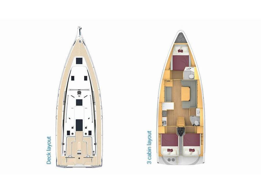 Bavaria C42 (Karpouzi | A/C, Bowth, Full teak deck) Plan image - 1