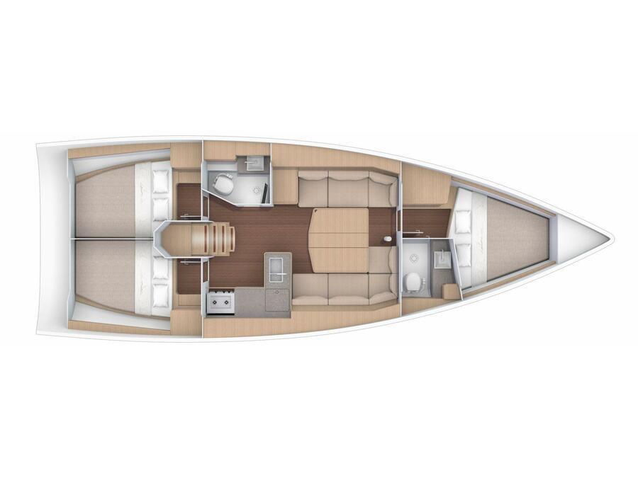 Dufour 390 Grand Large (MERCURY) Plan image - 2