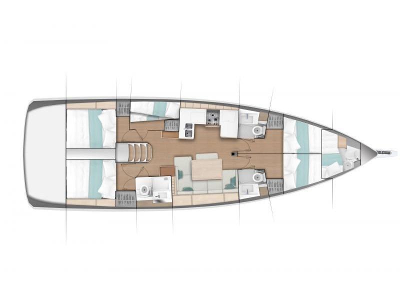 Sun Odyssey 490 (5 cab/3 wc) (Aqua Fun) Plan image - 1