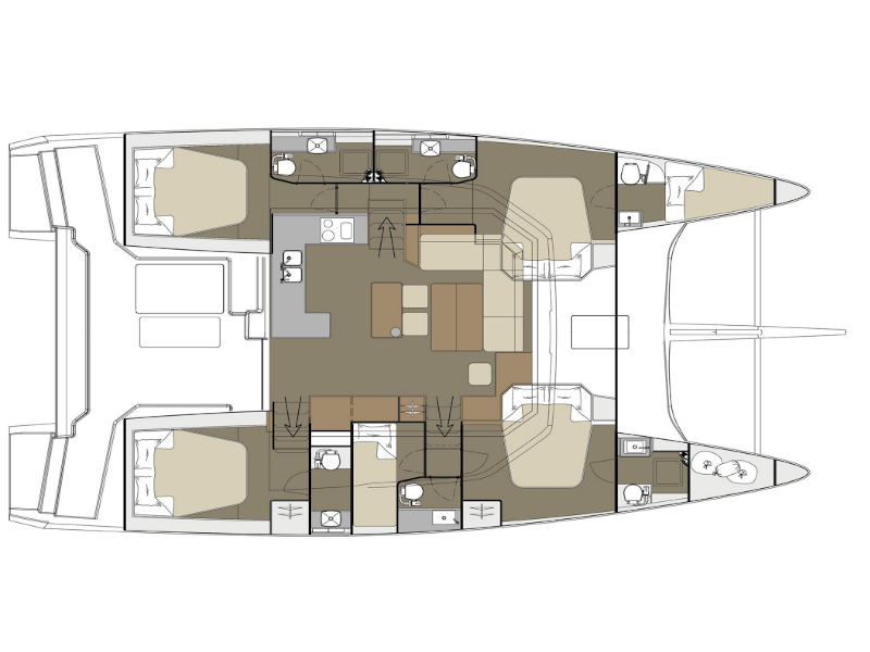 Dufour 48 Catamaran (YAM - BLUE HULL, AC+GEN., UNDERWATER LIGHTS) Plan image - 9