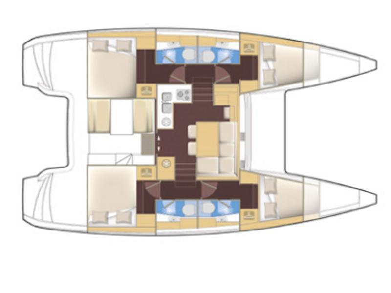 Lagoon 40 (4 cabins) (My Crazy Cat ) Plan image - 3