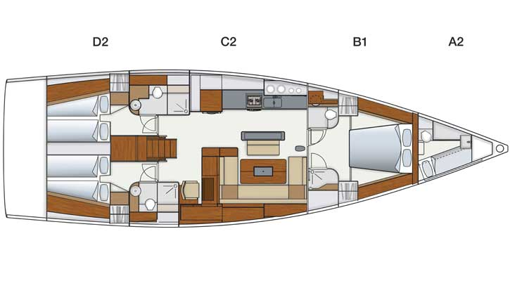 Hanse 575 (Shawe Thing (Only with Skipper)) layout    - 1