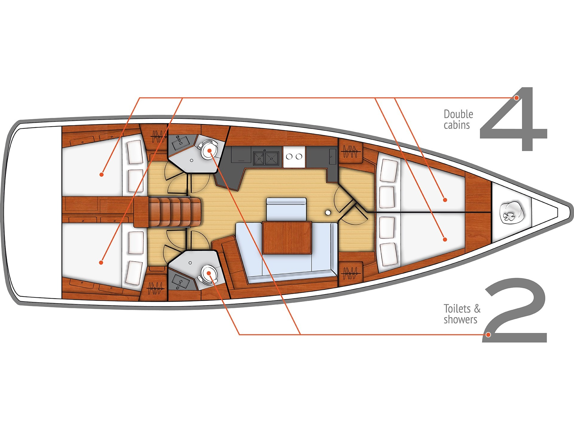 Oceanis 45 (4 cabs) (Cancan) Plan image - 2