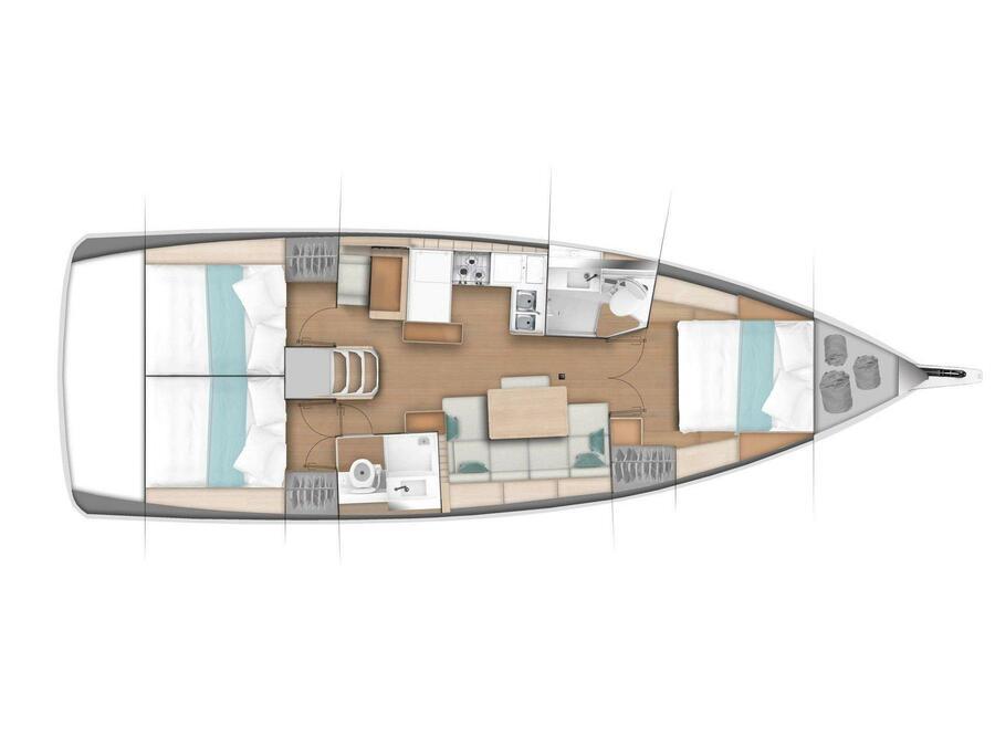 Sun Odyssey 440 - 3 cabin, 2 heads (Ella Victoria) Plan image - 10