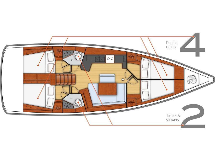 Oceanis 45 (4 cabs) (Flamenco) Plan image - 9
