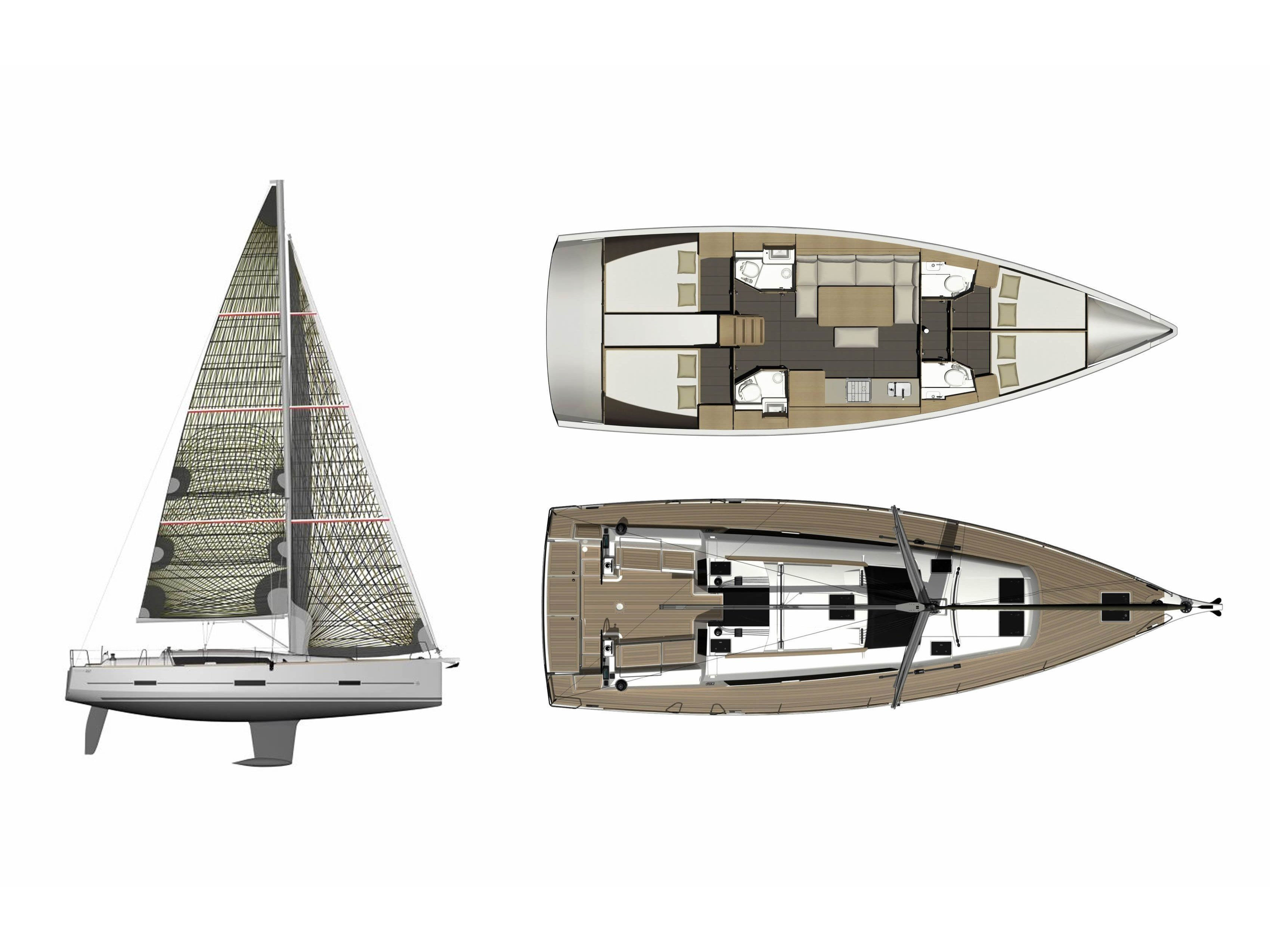 Dufour 460 Grand Large (4 cab) (Moby Dick) Plan image - 4