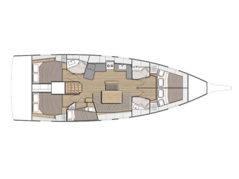 Oceanis 46.1 - 5 cabin version (FriendSEAp) Plan image - 2