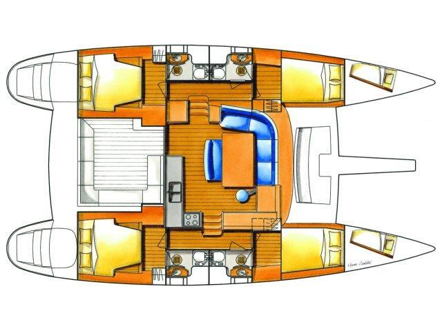 Lagoon 440 (2008) equipped with generator, A/C (sa (SPONGE BOB) Plan image - 4