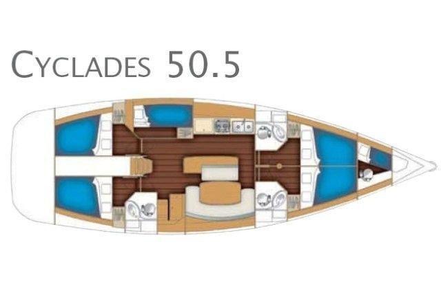 Cyclades 50.5 - 5 + 1 cab. (Lady Kiki ll)  - 2